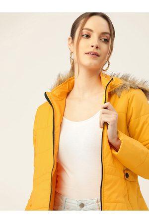 DressBerry Women Yellow Solid Hooded Faux Fur Parka Jacket
