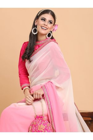 Sangria Rose-Toned Tie and Dye Sequinned Pure Georgette Saree