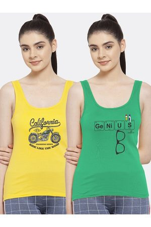 Friskers Women Tank Tops - Women Pack of 2 Typography Printed Pure Cotton Tank Top