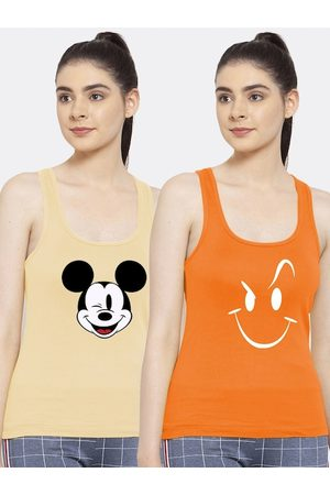 Friskers Women Tank Tops - Women Pack of 2 Graphic Printed Pure Cotton Tank Top