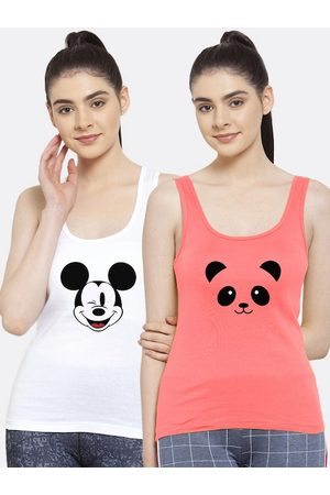Friskers Women Pack of 2 Graphic Printed Pure Cotton Tank Top