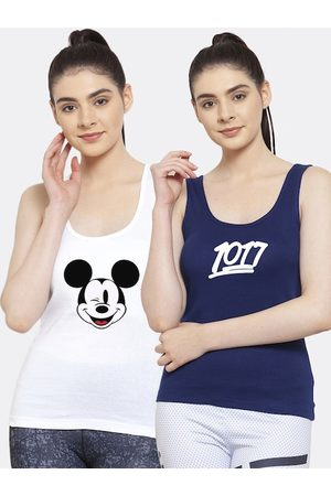 Friskers Women Pack of 2 White & Blue Printed Tank Top