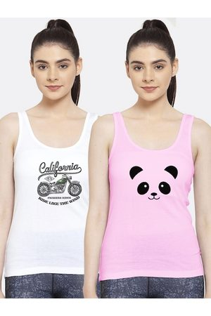 Friskers Women Pack of 2 Printed Pure Cotton Tank Top