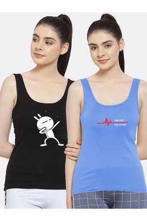 Friskers Women Pack of 2 Black & Turquoise Blue Tank Top