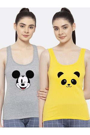 Friskers Women Pack of 2 Grey & Yellow Tank Top