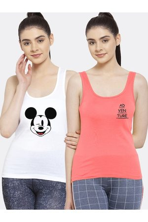 Friskers Women Pack of 2 White & Pink Tank Top
