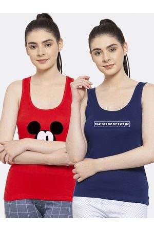 Friskers Women Pack of 2 Red & Navy Blue Printed Tank Top