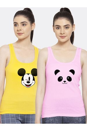 Friskers Women Pack of 2 Yellow & Pink Printed Tank Top