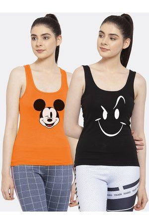 Friskers Women Pack of 2 Orange & Black Printed Tank Top