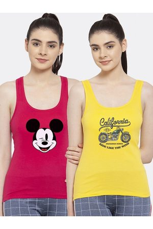 Friskers Women Pink & Yellow Pack Of 2 Printed Tank Top
