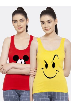 Friskers Women 2 Red & Yellow Tank Top