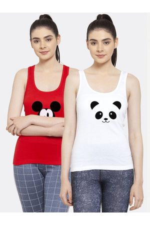 Friskers Women Pack of 2 Red & White Mickey Mouse Printed Tank Tops
