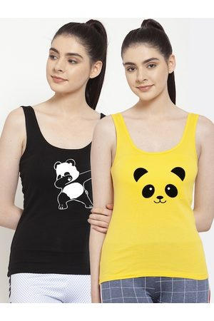 Friskers Women Black & Yellow Pack Of 2 Printed Tank Top