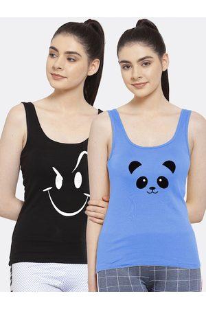 Friskers Women Black & Blue Pack Of 2 Printed Tank Top