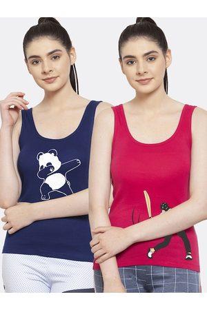 Friskers Women Pack Of 2 Blue & Pink Printed Tank Top