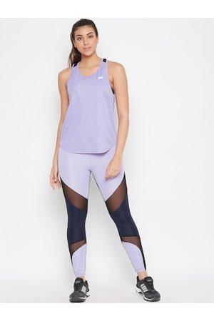 Clovia Women Purple & Navy Blue Colourblocked Snug-Fit Ankle-Length Active Tracksuits