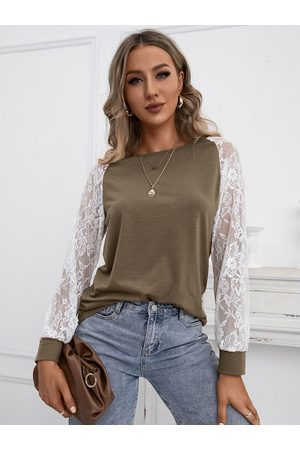 YOINS Lace Insert Design Round Neck Long Sleeves Tee