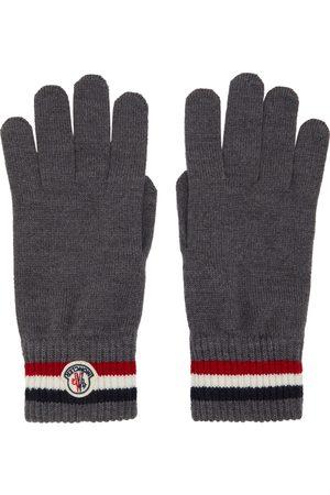 Moncler Grey Wool Stripe Gloves