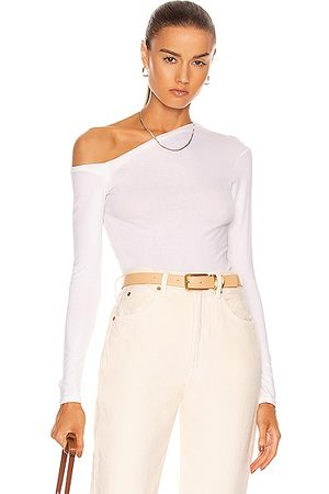 Enza Costa Brushed Supima Jersey Angled One Shoulder Long Sleeve Top in Unbleached