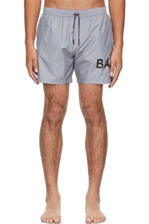 Balmain Grey Logo Swim Shorts