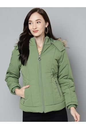 Foreign Culture By Fort Collins Women Green Solid Parka Jacket With Detachable Hood