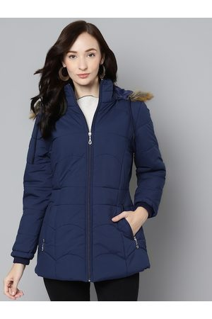 Foreign Culture By Fort Collins Women Navy Blue Longline Hooded Parka Jacket
