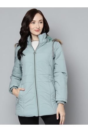 Foreign Culture By Fort Collins Women Blue Solid Parka Jacket With Detachable Hood