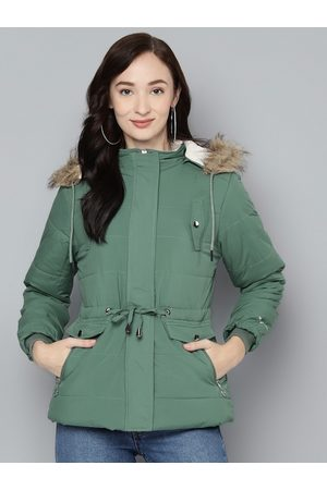 Foreign Culture By Fort Collins Women Green Hooded Parka Jacket