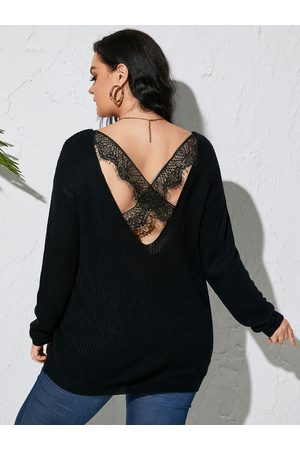 YOINS Plus Size Criss-Cross Lace Patchwork Design Long Sleeves Sweater
