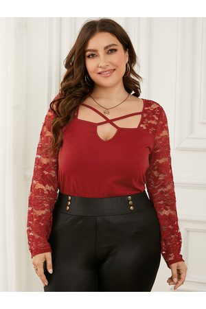 YOINS Plus Size Lace Criss-Cross Knit Long Sleeves Tee