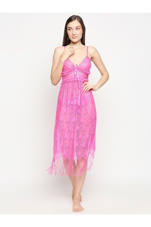 Lady Love Woman Pink Net Baby Doll