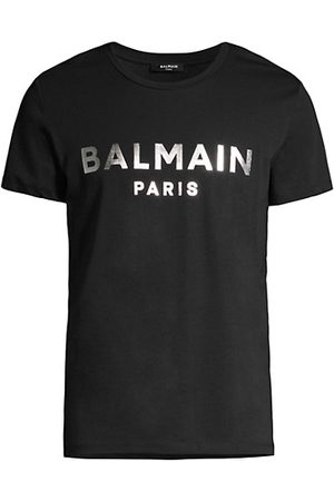 Balmain Silver Metallic Logo Cotton T-Shirt