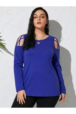 YOINS Plus Size Cold Shoulder Criss-Cross Long Sleeves Tee