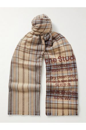 Acne Studios Men Scarves - Logo-Print Checked Wool Scarf