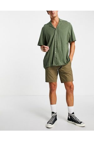 SELECTED Organic cotton blend hiking shorts with belt in khaki
