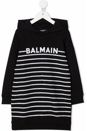 Balmain Girls Casual Dresses - Striped logo-embroidered hoodie dress