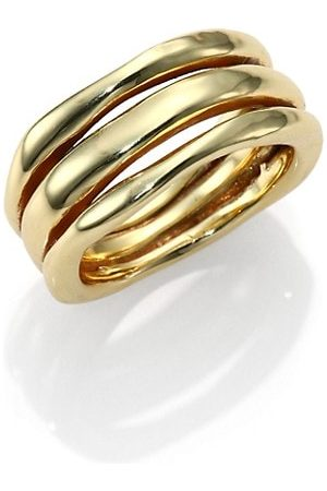Ippolita Rings - Classico 18K Yellow Smooth Squiggle Triple-Bang Ring