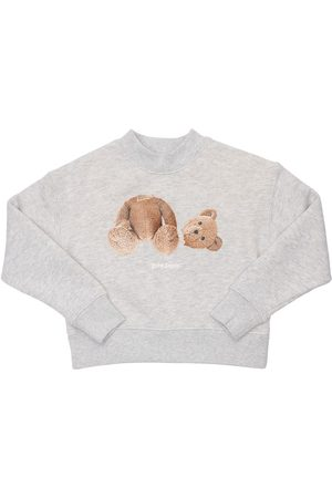 Palm Angels Girls Sweatshirts - Bear Print Cotton Sweatshirt