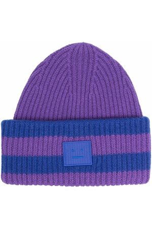 Acne Studios Face-patch striped ribbed knit beanie