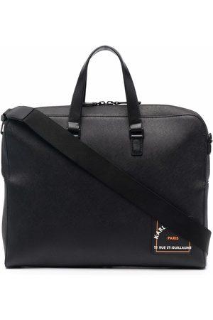 Karl Lagerfeld Saffiano logo-print briefcase
