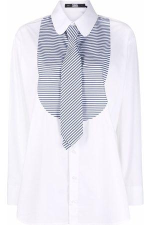 Karl Lagerfeld Stripe-print bib collar shirt