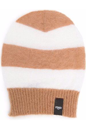 Fendi Stripe pattern beanie hat