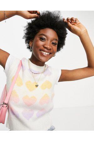 New Look Women Vests - Rainbow heart knitted vest in