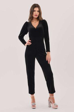 Closet Pleated Sleeve Velour Jumpsuit
