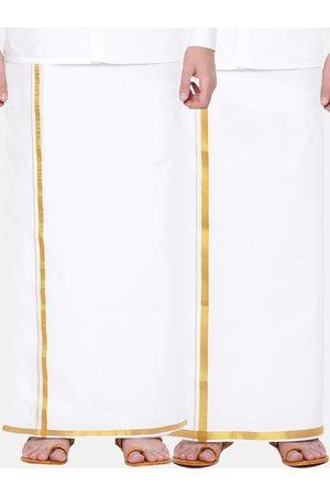 RAMRAJ COTTON Men Dhotis - Men Pack Of 2 Gold-Coloured & White Solid Agaram Cotton Dhotis