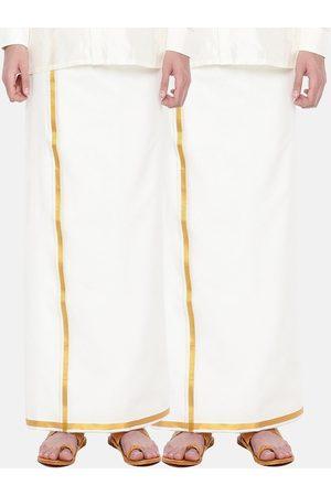 RAMRAJ COTTON Men Pack Of 2 Cream Solid Cotton Dhotis