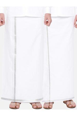 RAMRAJ COTTON Men Pack Of 2 White Solid Pure Cotton Dhotis