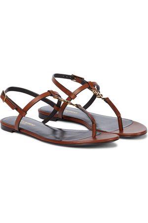Saint Laurent Women Platform Sandals - Cassandra leather thong sandals