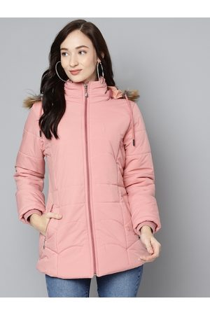 Foreign Culture By Fort Collins Women Pink Solid Parka Jacket With Detachable Hood