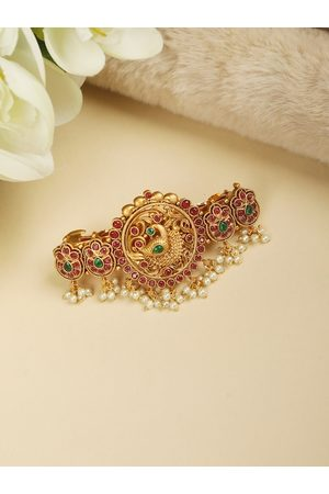 Priyaasi Gold Plated Multi-Color Pearls Peacock Claw Clip Hair Accessory